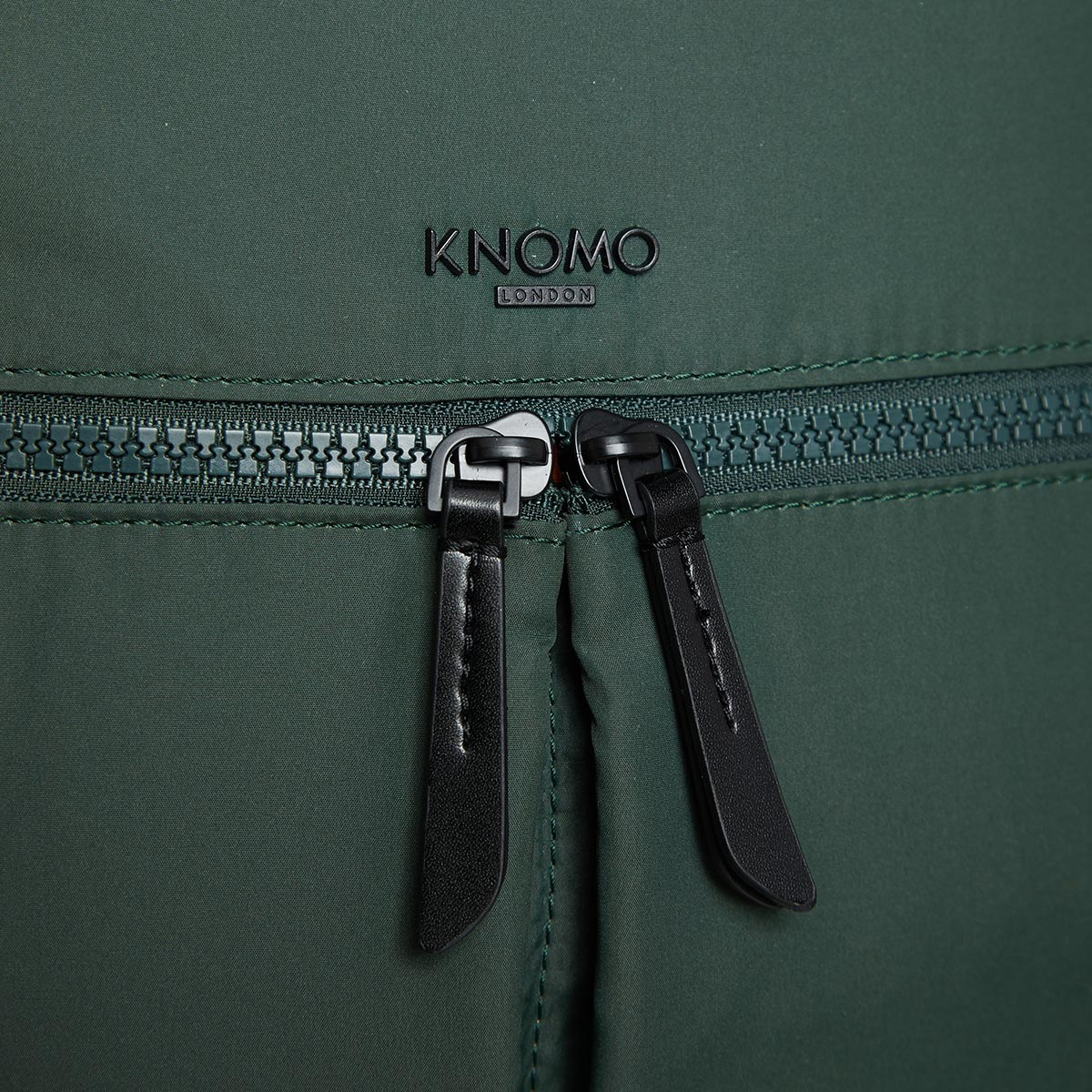 "KNOMO Berlin Laptop Backpack Zip Detail Close Up 15"" -  Bottle Green 