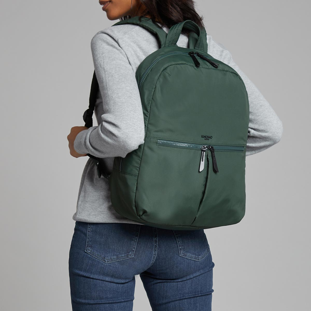 "KNOMO Berlin Laptop Backpack Female Model Wearing 15"" -  Bottle Green 