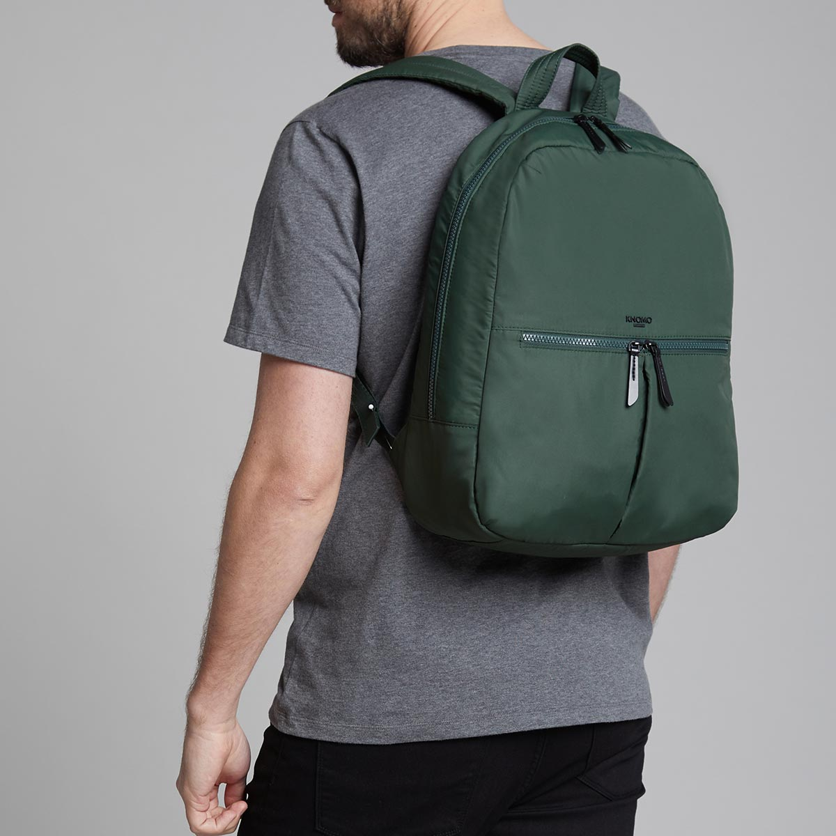"KNOMO Berlin Laptop Backpack Male Model Wearing 15"" -  Bottle Green 