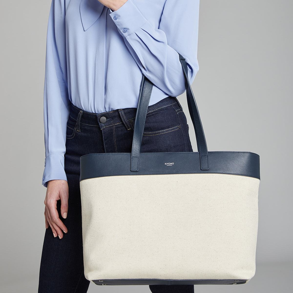 "KNOMO Maddox Laptop Tote Female Model Holding Straps 15"" -  Natural 