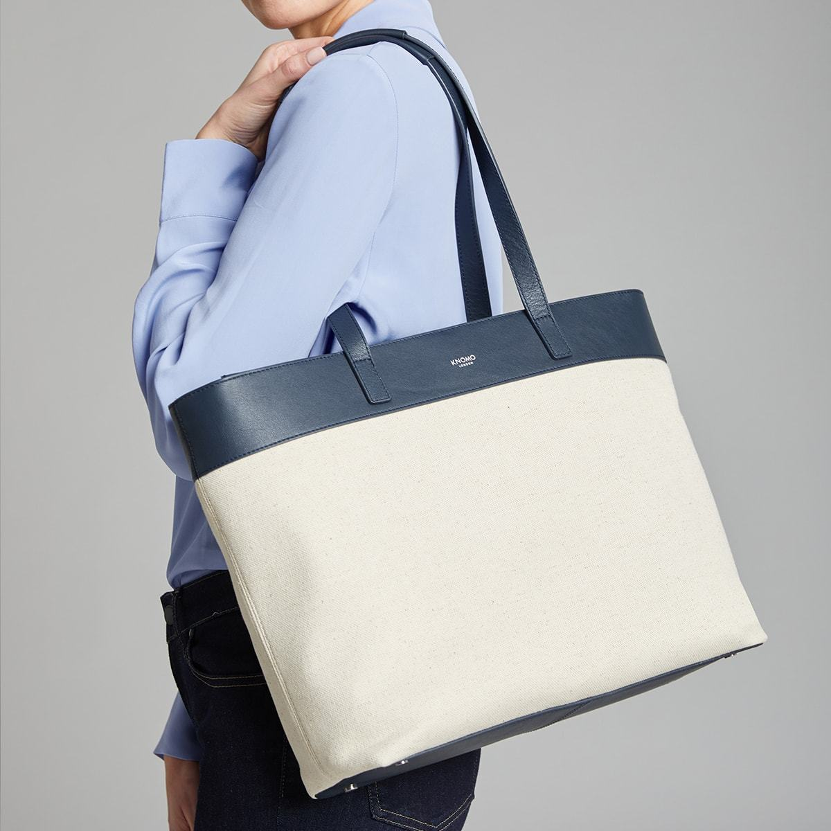 "KNOMO Maddox Laptop Tote Female Model Holding Over Shoulder 15"" -  Natural 