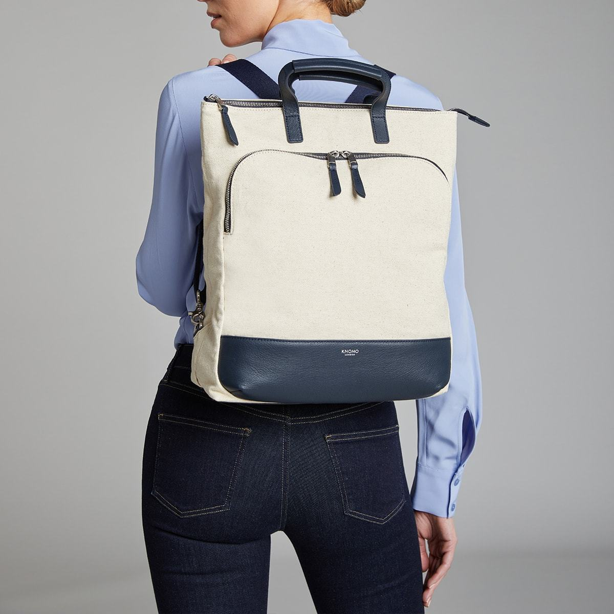 "KNOMO Harewood Totepack 15"" Female Model Wearing 15"" -  Natural 