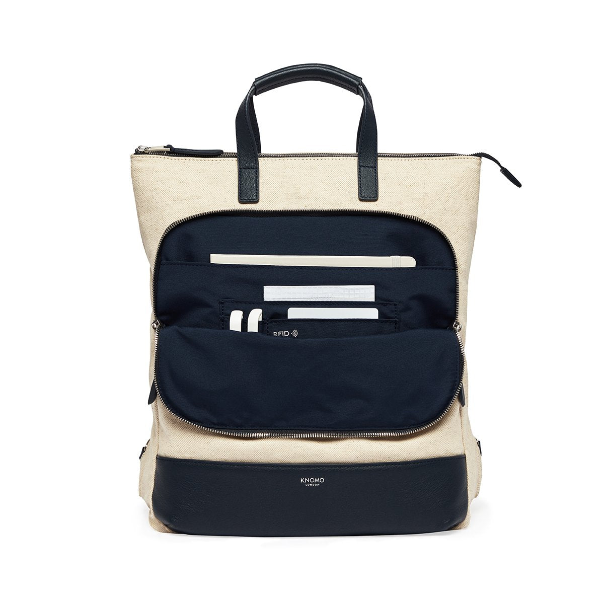 "KNOMO Harewood Totepack 15"" Front Pocket With Items 15"" -  Natural 