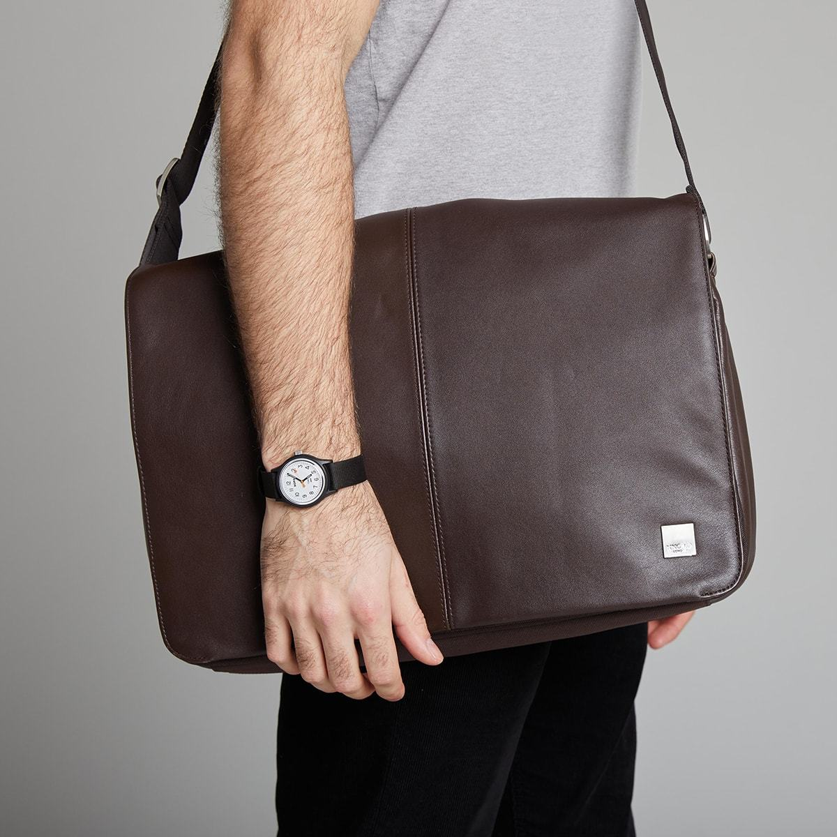 "KNOMO Bungo Laptop Messenger Bag Male Model Wearing Over Shoulder 15.6"" -  Brown 