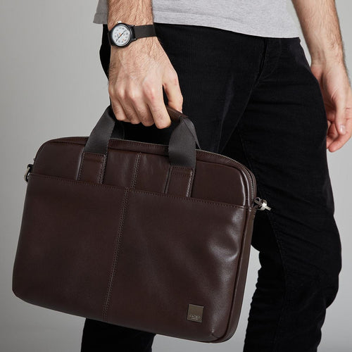 "KNOMO Stanford Leather Laptop Briefcase - 13"" Main Image 