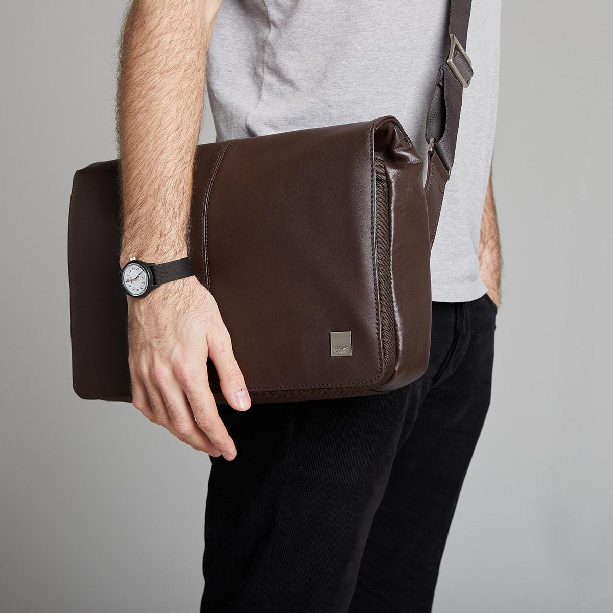"KNOMO Kinsale Laptop Messenger Bag Male Model Wearing Over Shoulder 13"" -  Brown 