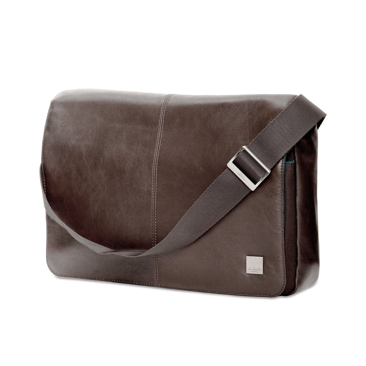 "KNOMO Kinsale Laptop Messenger Bag Three Quarter View With Strap 13"" -  Brown 