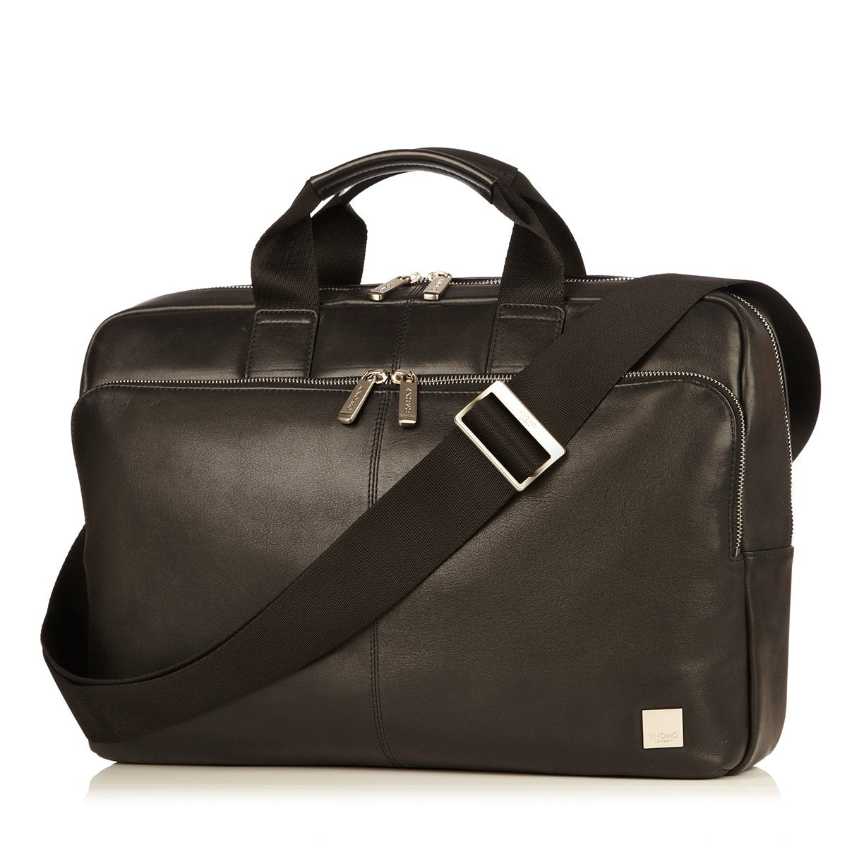 "KNOMO Newbury Laptop Briefcase Three Quarter View With Strap 15"" -  Black 