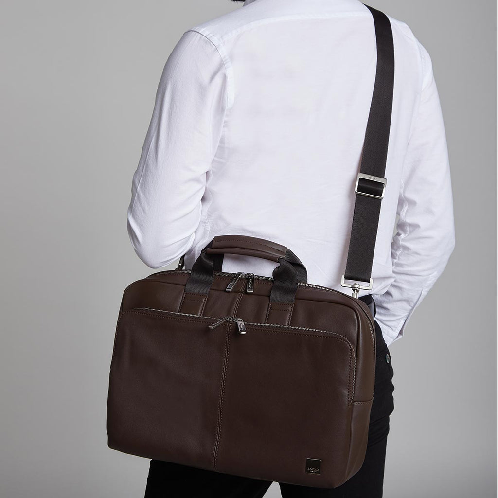 "Newbury Mens Premium 15"" Leather Laptop Briefcase - Brown – KNOMO"