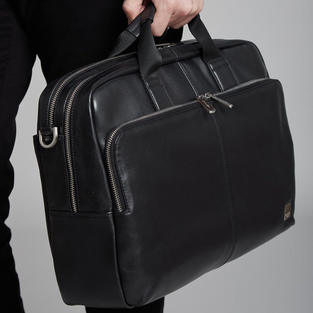 "Amesbury 15"" Double Pocket Leather Laptop Briefcase - Black – KNOMO"