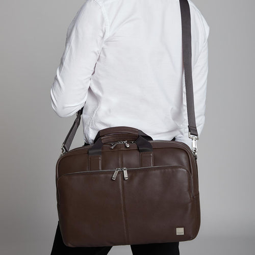 "Leather Laptop Briefcase - 15"" - Amesbury 