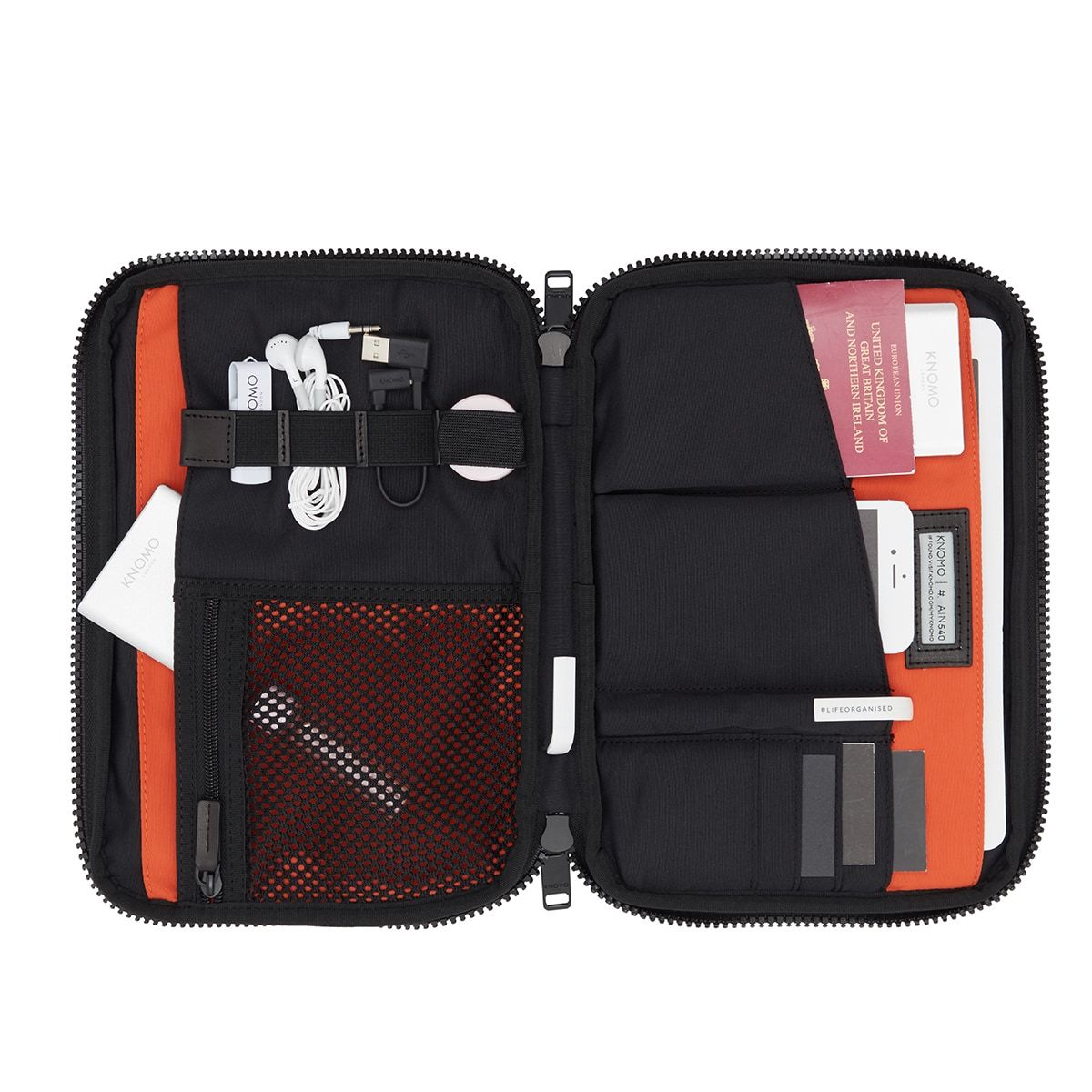 "KNOMO Fulham Knomad X-Body Organiser Tech Organiser Internal With Items 10.5"" -  Black 