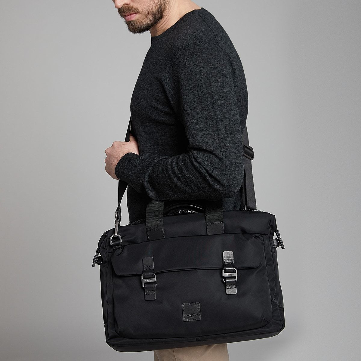 "KNOMO Tournay Laptop Briefcase Male Model Wearing Over Shoulder 15"" -  Black 