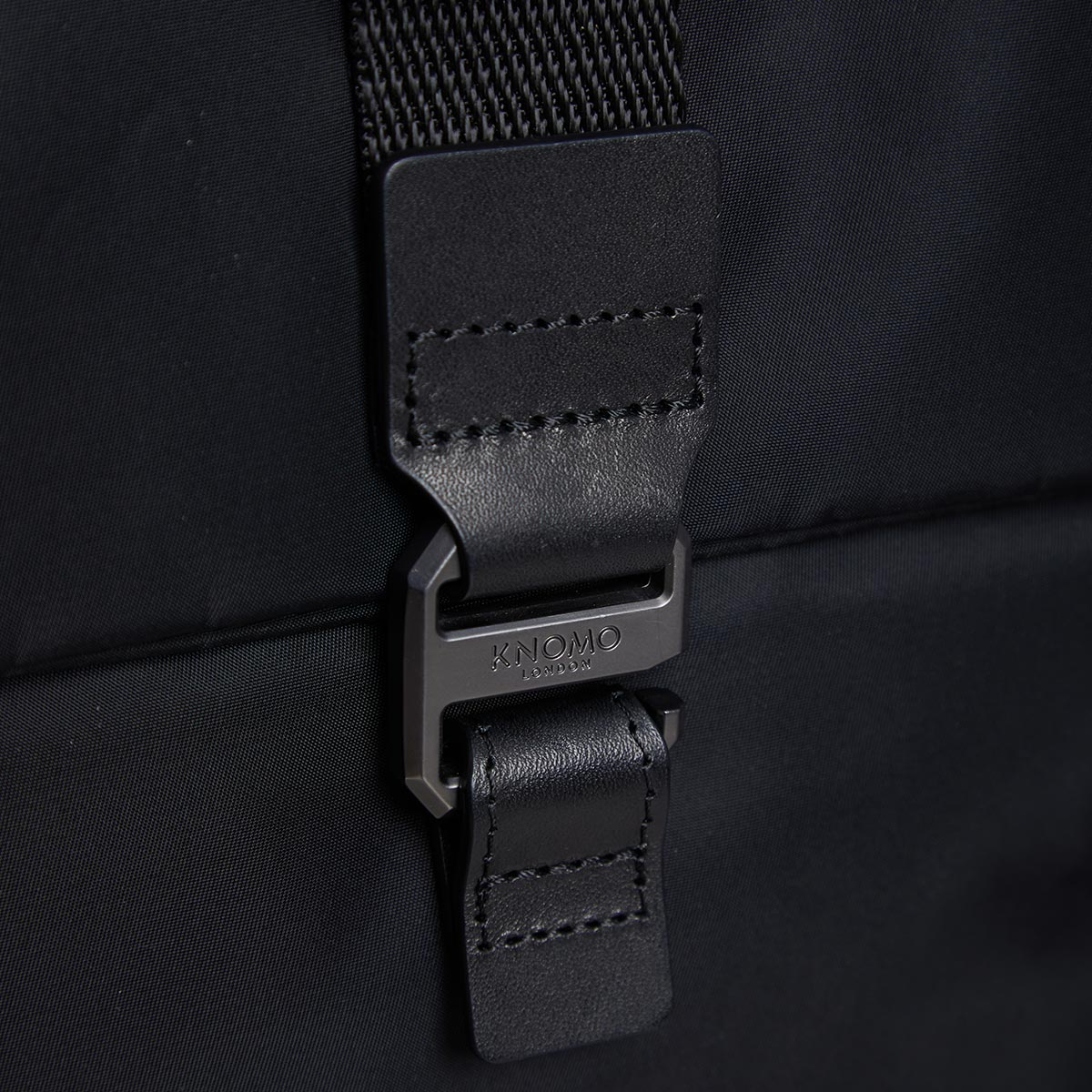 "KNOMO Novello Roll-Top Laptop Backpack Buckle Detail Close Up 15"" -  Black 