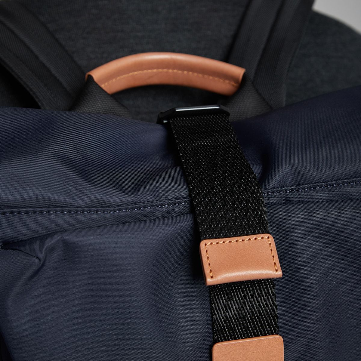 "KNOMO Novello Roll-Top Laptop Backpack Buckle Detail Close Up 15"" -  Dark Navy 