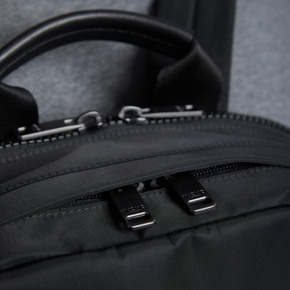 "KNOMO Christowe Backpack Zip Detail Close Up 15"" -  Black 