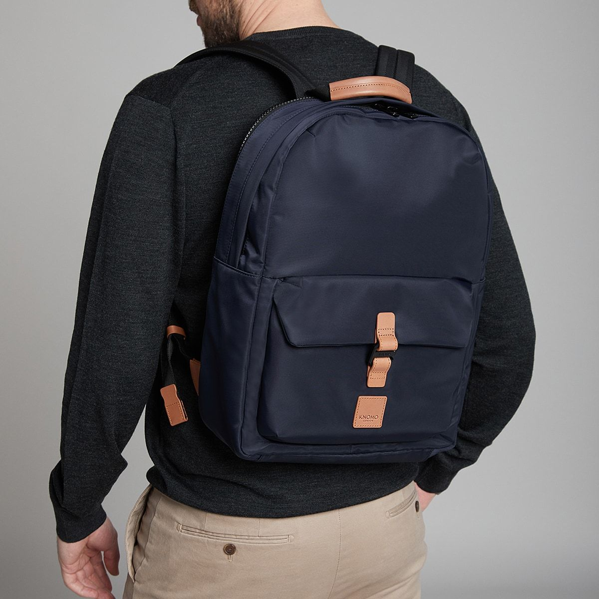 "KNOMO Christowe Backpack Male Model Wearing 15"" -  Dark Navy 
