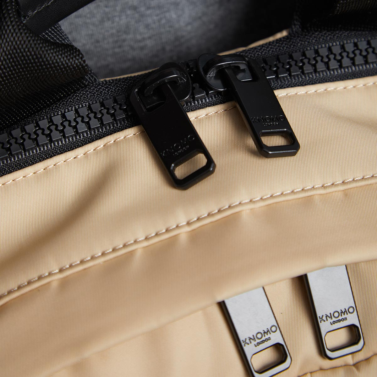 "KNOMO Christowe Backpack Zip Detail Close Up 15"" -  Trench Beige 
