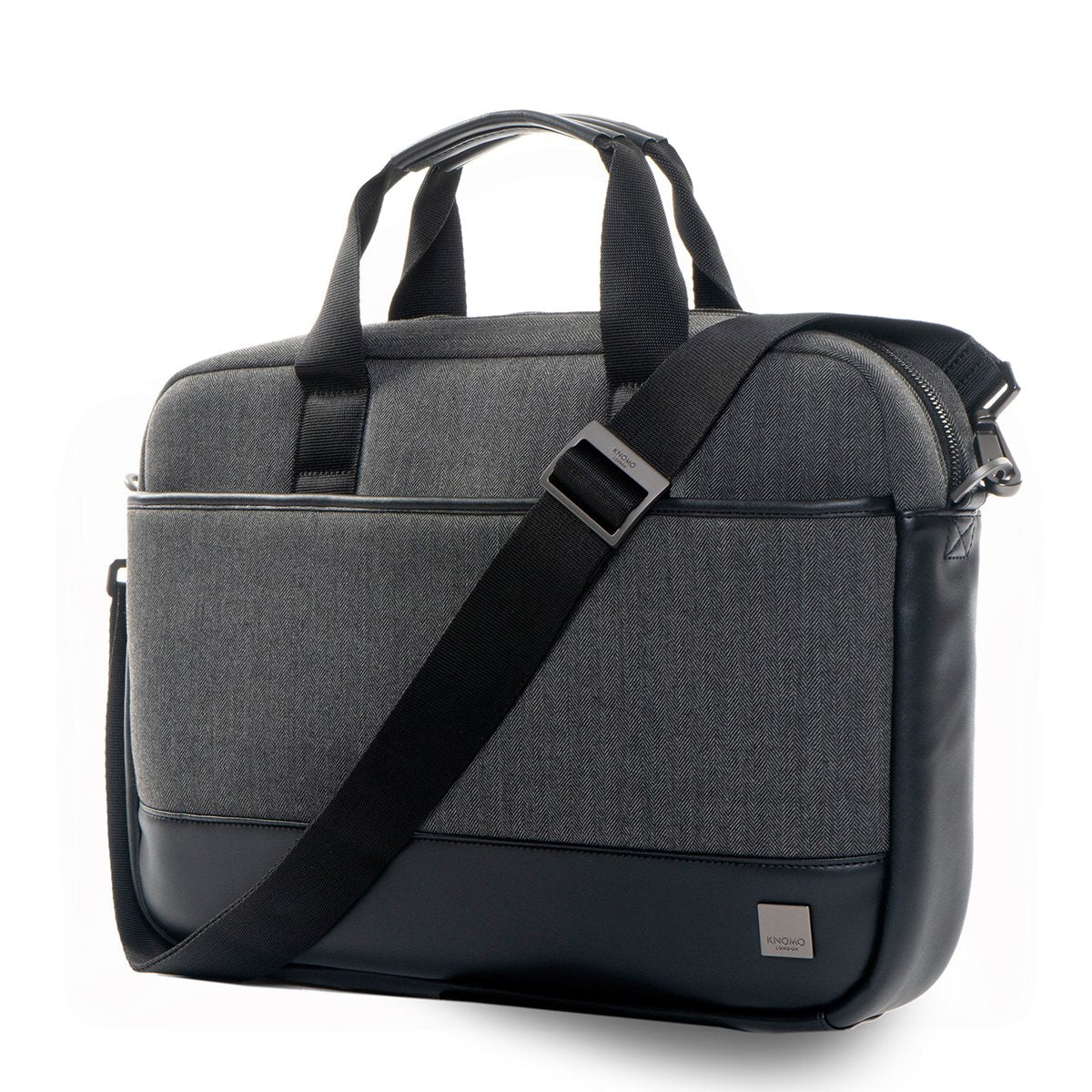 "KNOMO Princeton Laptop Briefcase Three Quarter View With Strap 15.6"" - Grey 