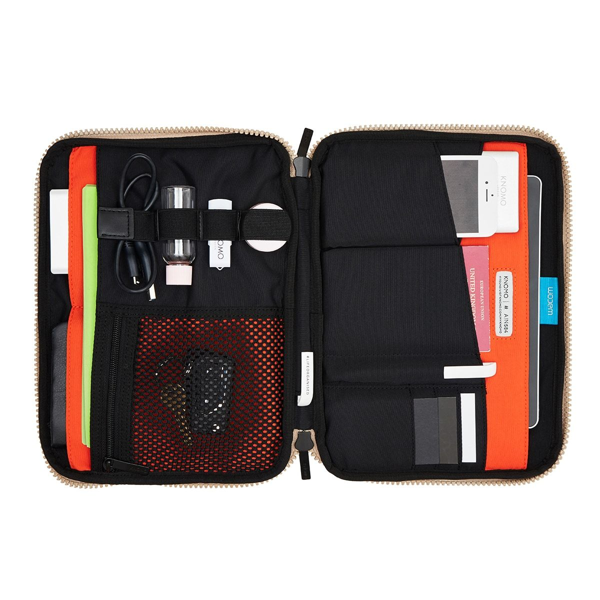 "KNOMO Thames Knomad Organiser Tech Organiser Internal With Items 10.5"" -  Desert 