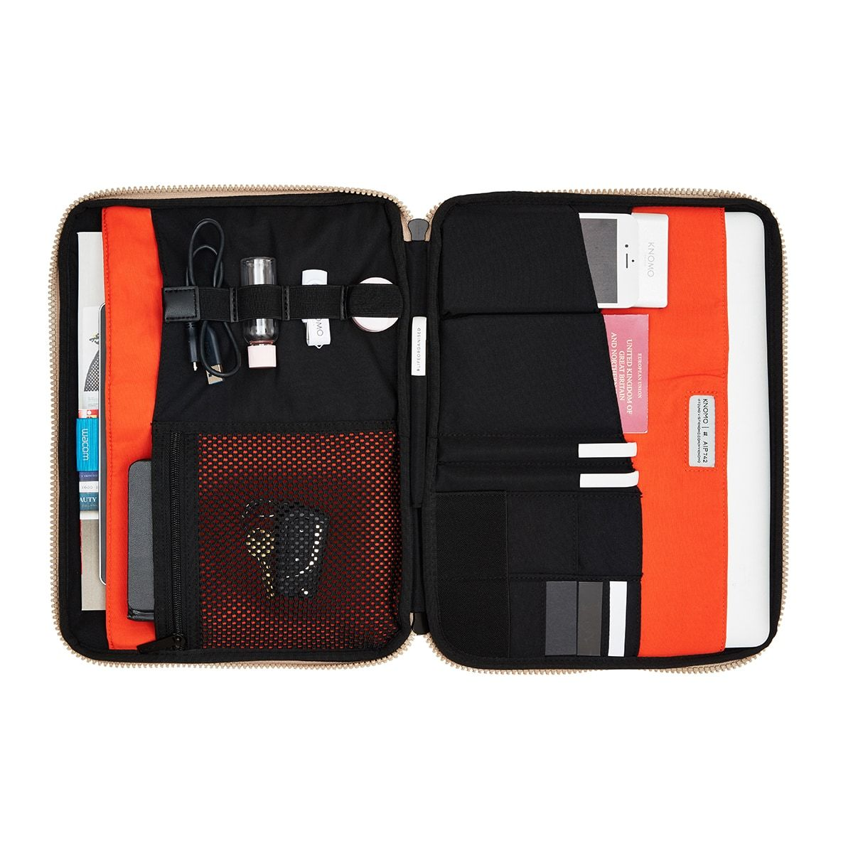 "KNOMO Thames Knomad Organiser Tech Organiser Internal With Items 13"" -  Desert 