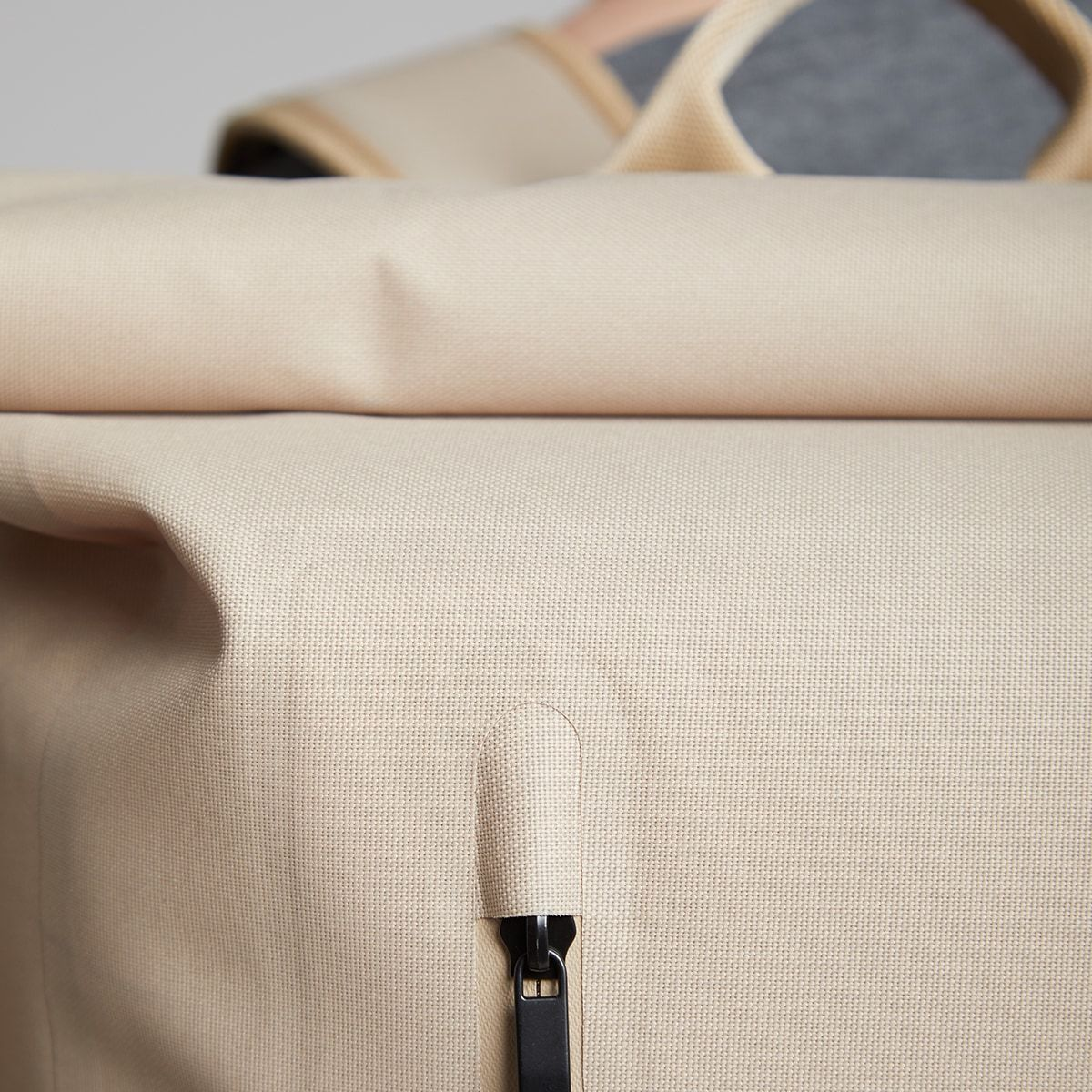 "KNOMO Cromwell Roll-Top Laptop Backpack Zip Close Up 14"" -  Desert 
