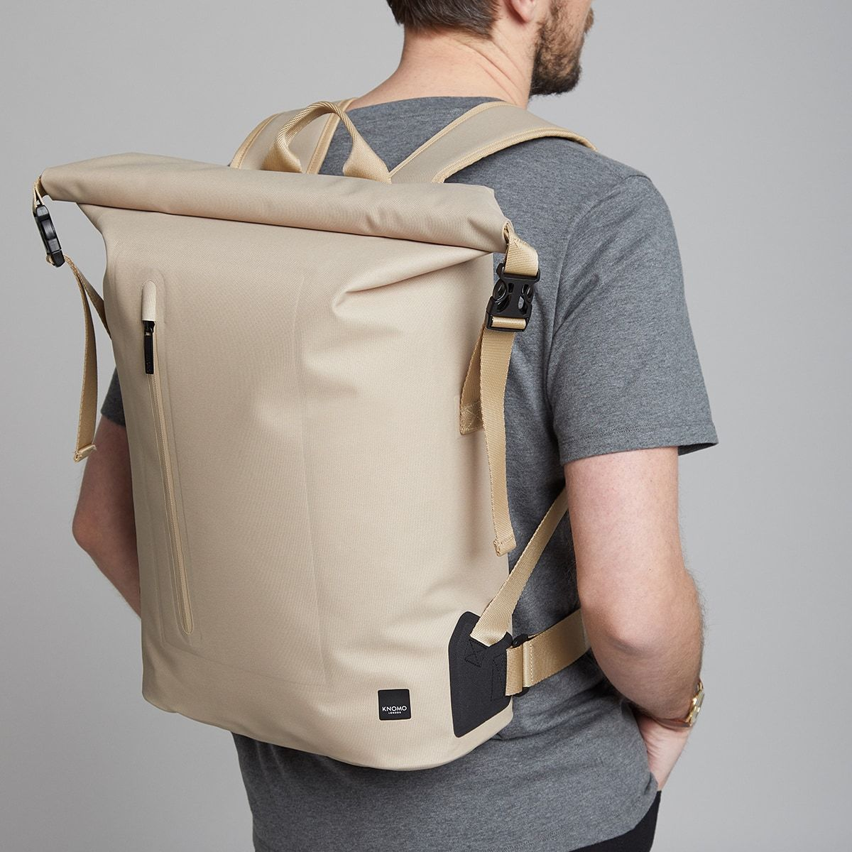 "KNOMO Cromwell Roll-Top Laptop Backpack Male Model Wearing 14"" -  Desert 