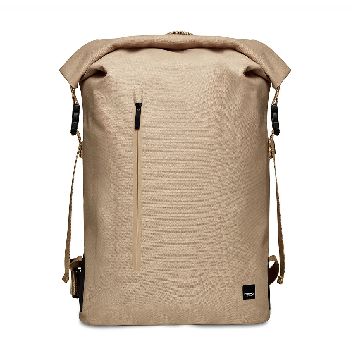 "KNOMO Cromwell Roll-Top Laptop Backpack From Front 14"" -  Desert 