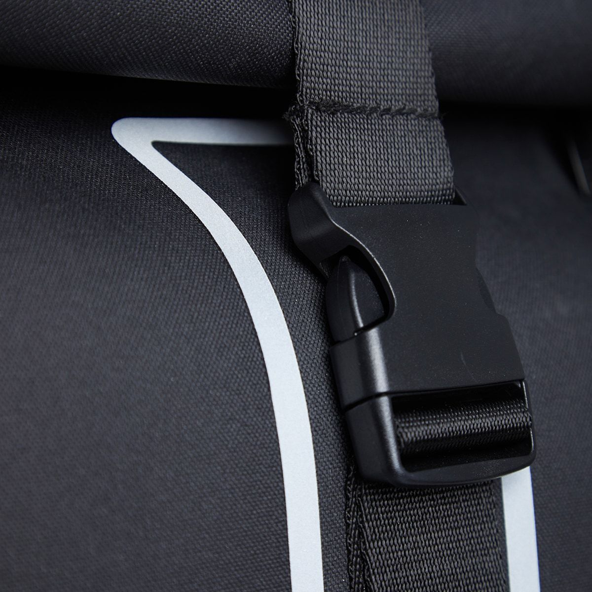 "KNOMO Kew Roll-Top Laptop Backpack Buckle Detail Close Up 15"" -  Black 