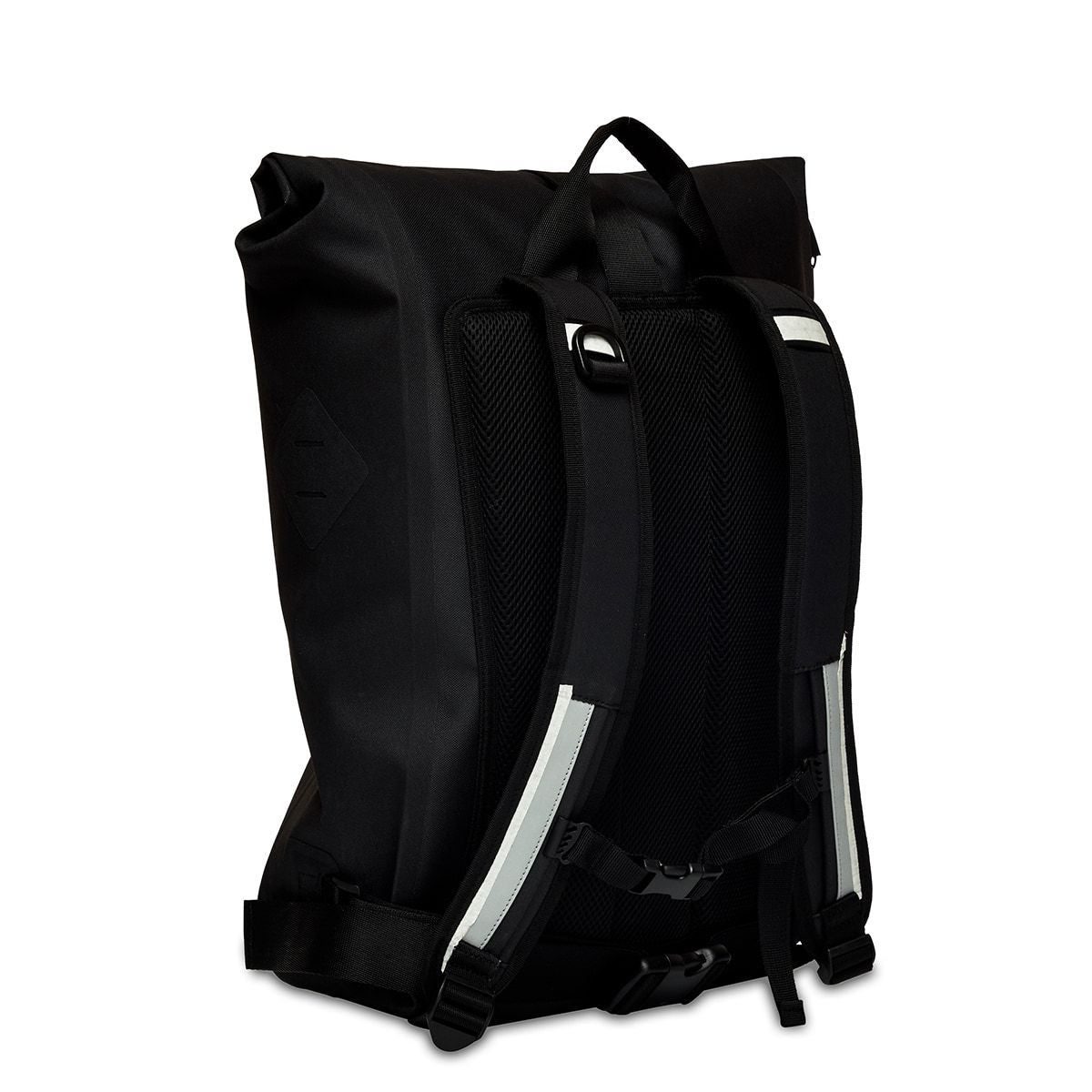 "KNOMO Kew Roll-Top Laptop Backpack Three Quarter View From Back 15"" -  Black 
