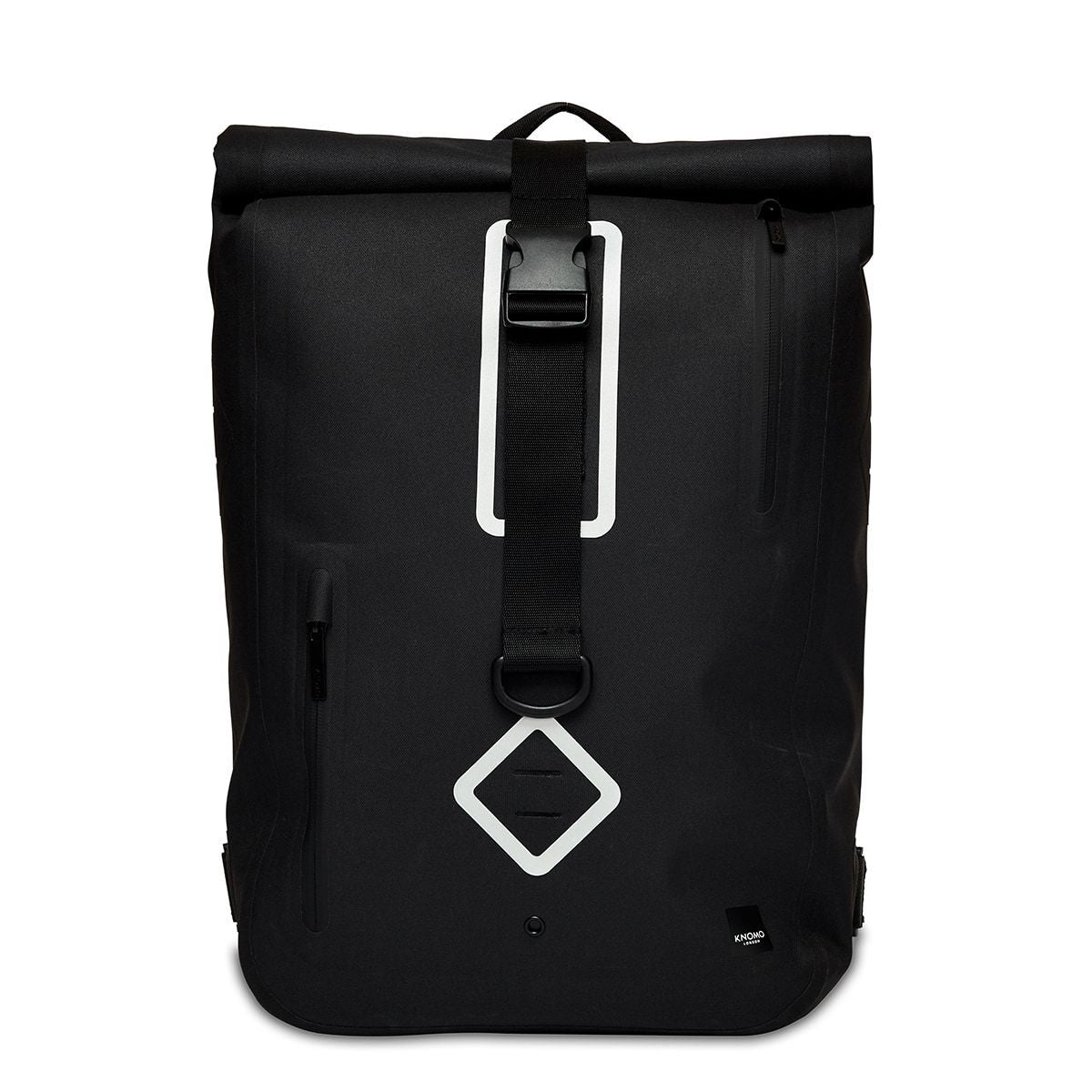 "KNOMO Kew Roll-Top Laptop Backpack From Front 15"" -  Black 