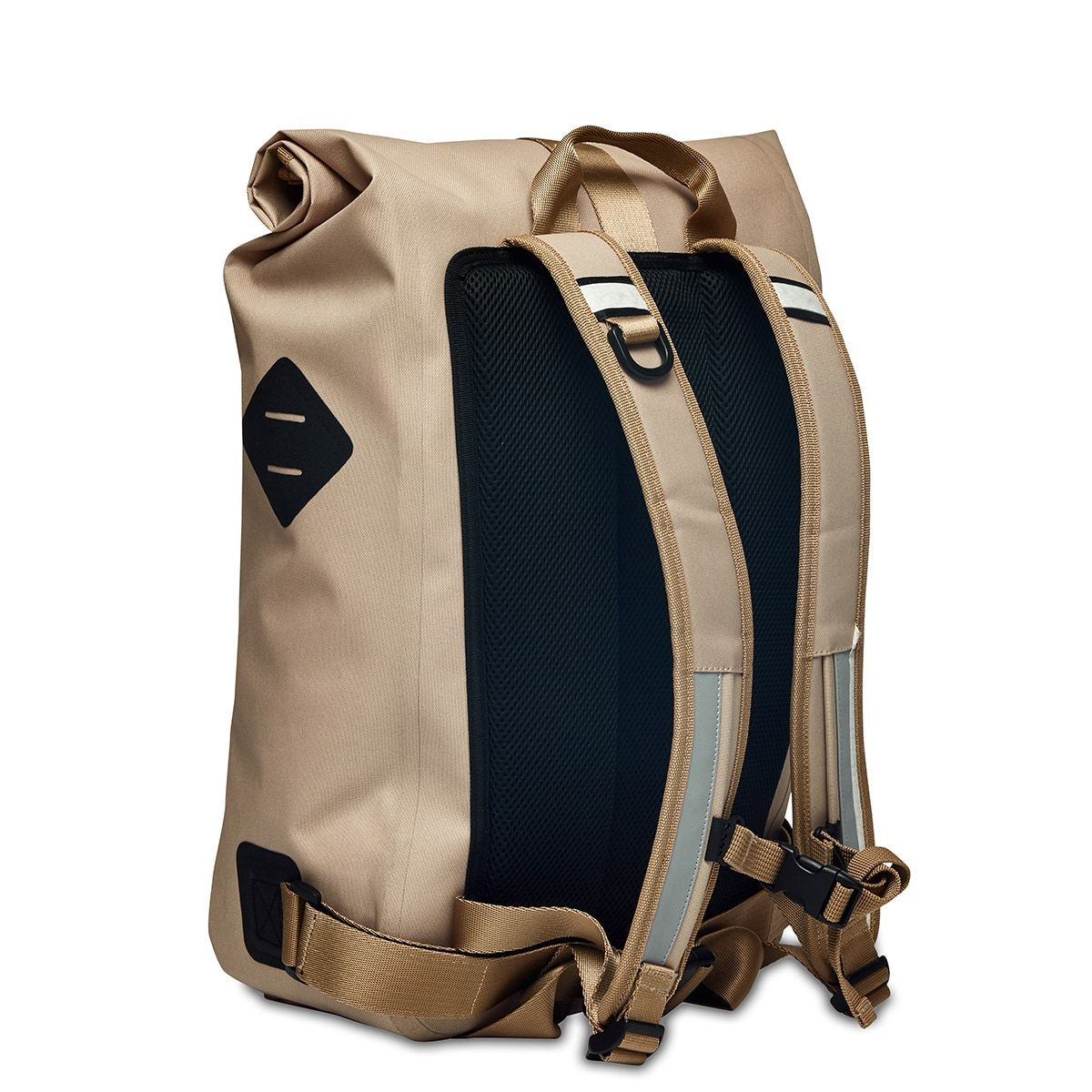 "KNOMO Kew Roll-Top Laptop Backpack Three Quarter View From Back 15"" -  Desert 