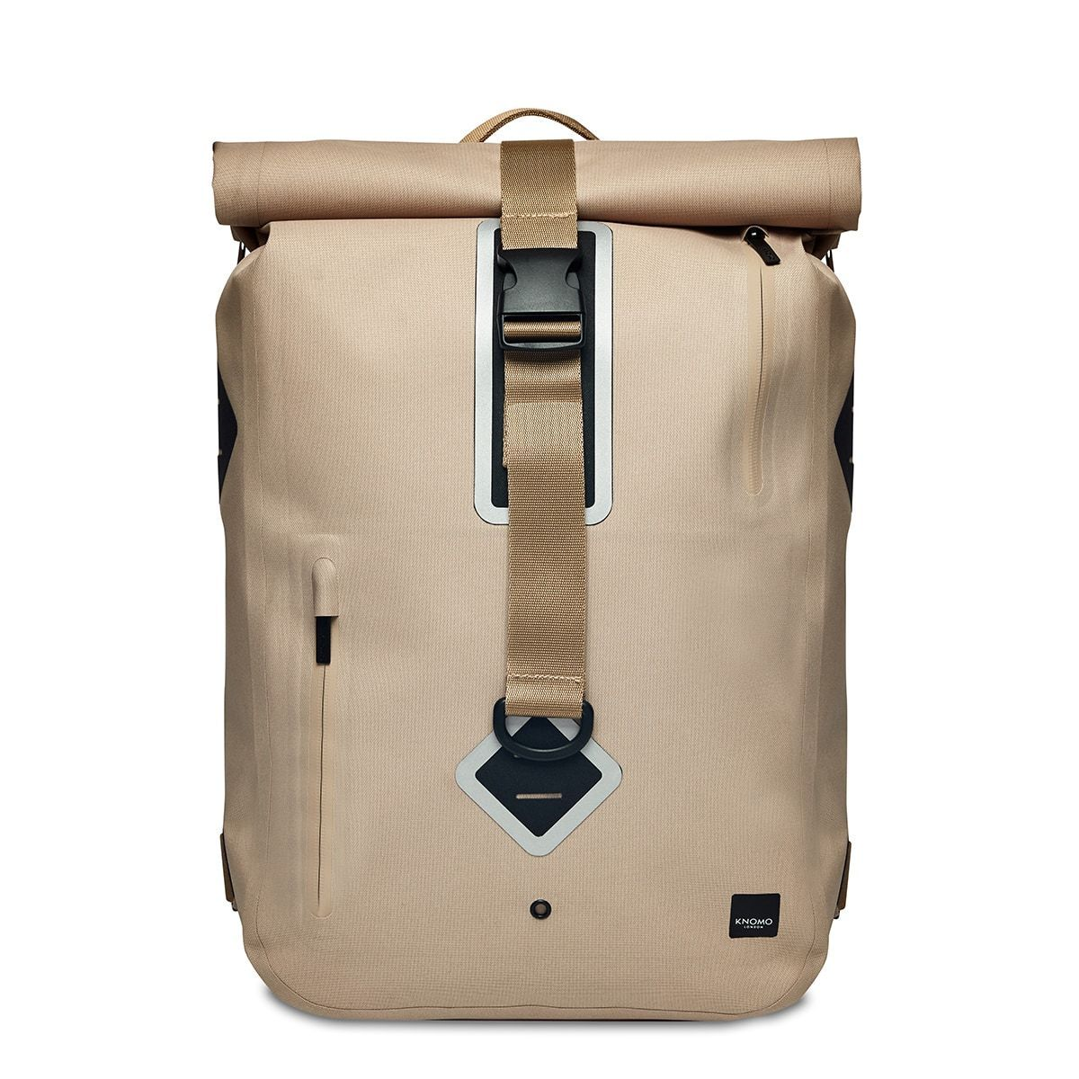 "KNOMO Kew Roll-Top Laptop Backpack From Front 15"" -  Desert 