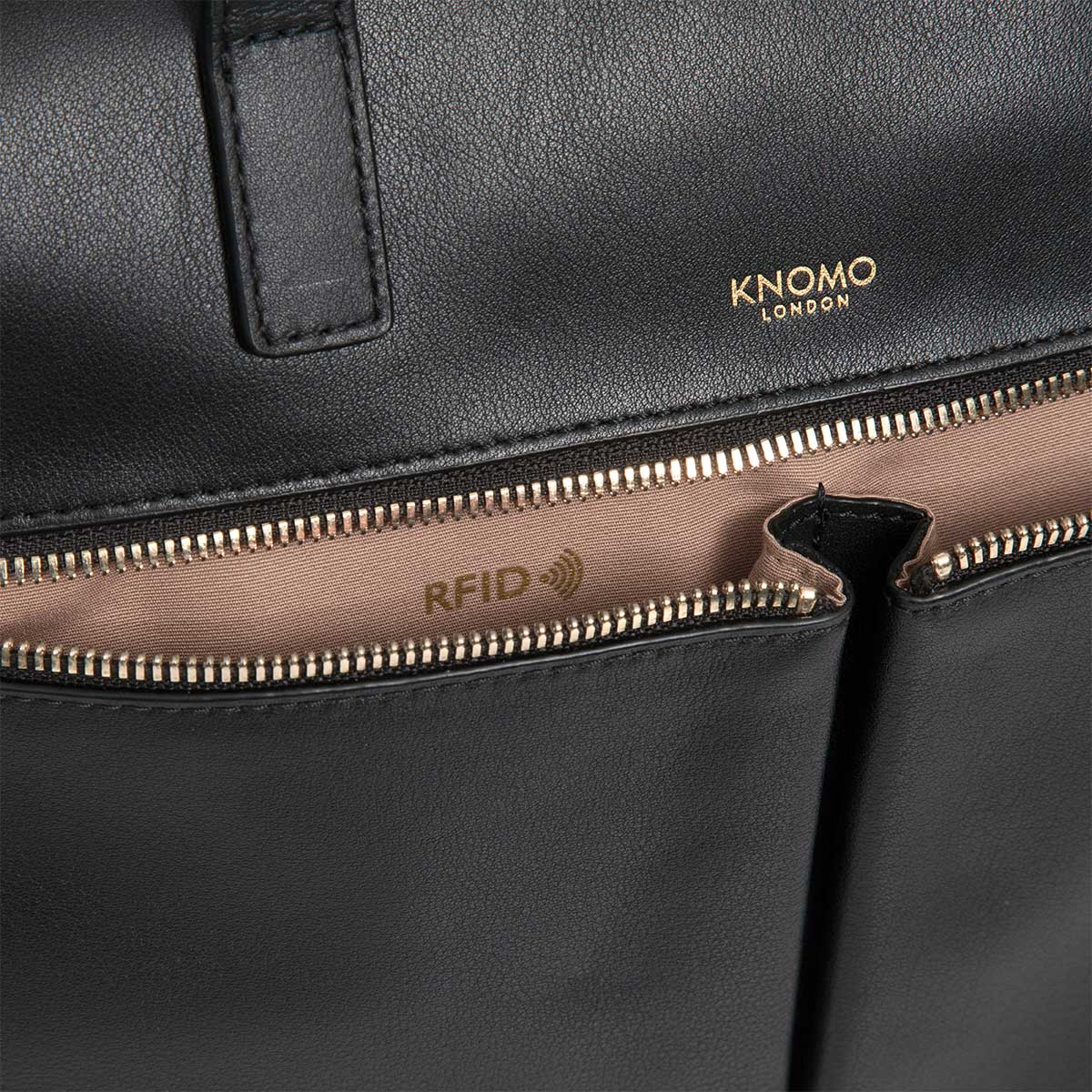 "KNOMO Audley Laptop Handbag RFID Close Up 14"" -  Black 