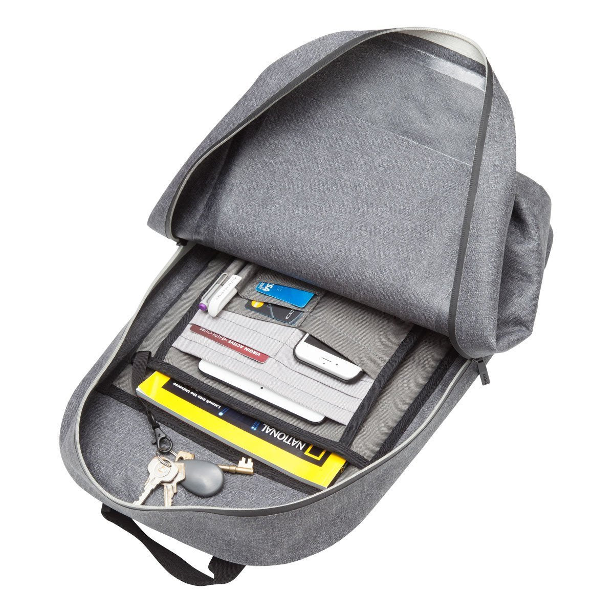 "KNOMO Harpsden Laptop Backpack Laying Down With Items 14"" -  Grey 