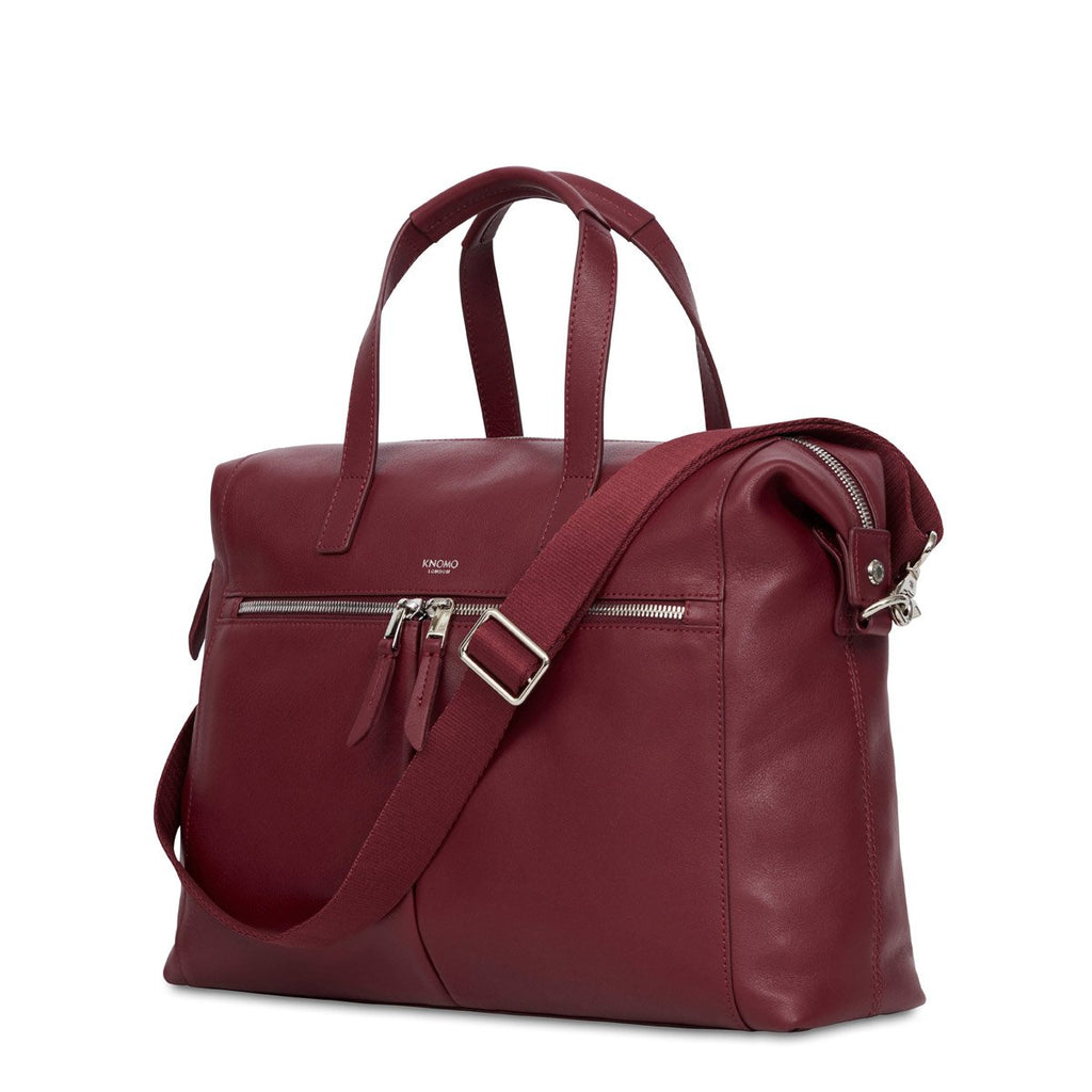 "Audley 14"" Leather Laptop Shoulder Handbag - Burgundy 