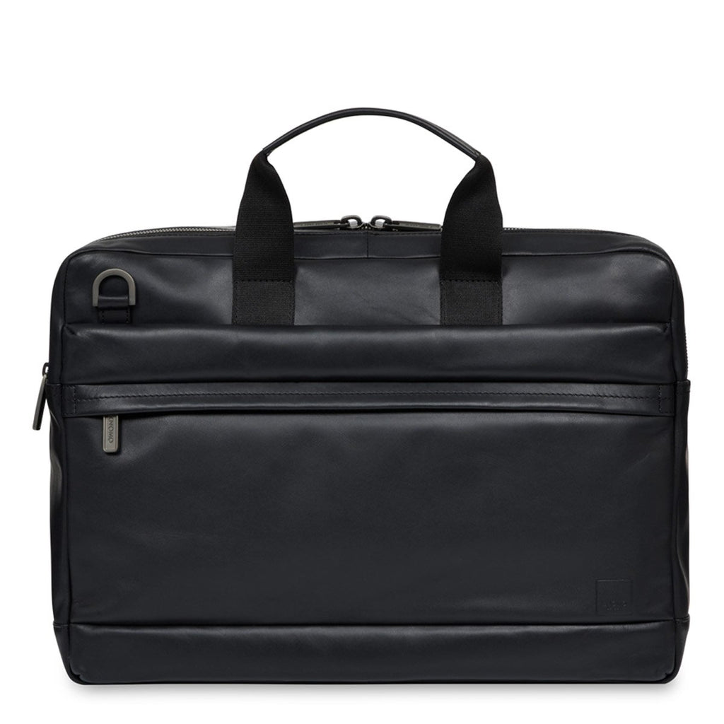 "Roscoe 15"" Men's Leather Laptop Briefcase Black 