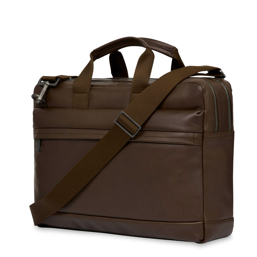 "Roscoe 15"" Men's Leather Laptop Briefcase Brown 