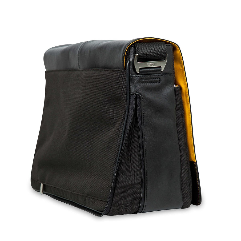 "Bungo 15.6"" Expandable Leather Messenger Laptop Bag - Black – KNOMO"