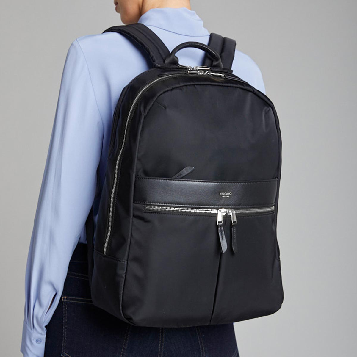 "KNOMO Beaufort Laptop Backpack Female Model Wearing 15.6"" -  Black 
