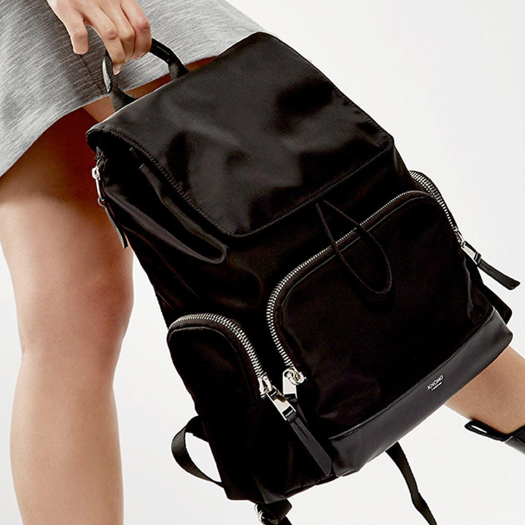 "Clifford Womens 13"" Leather Laptop Backpack - Black – KNOMO"