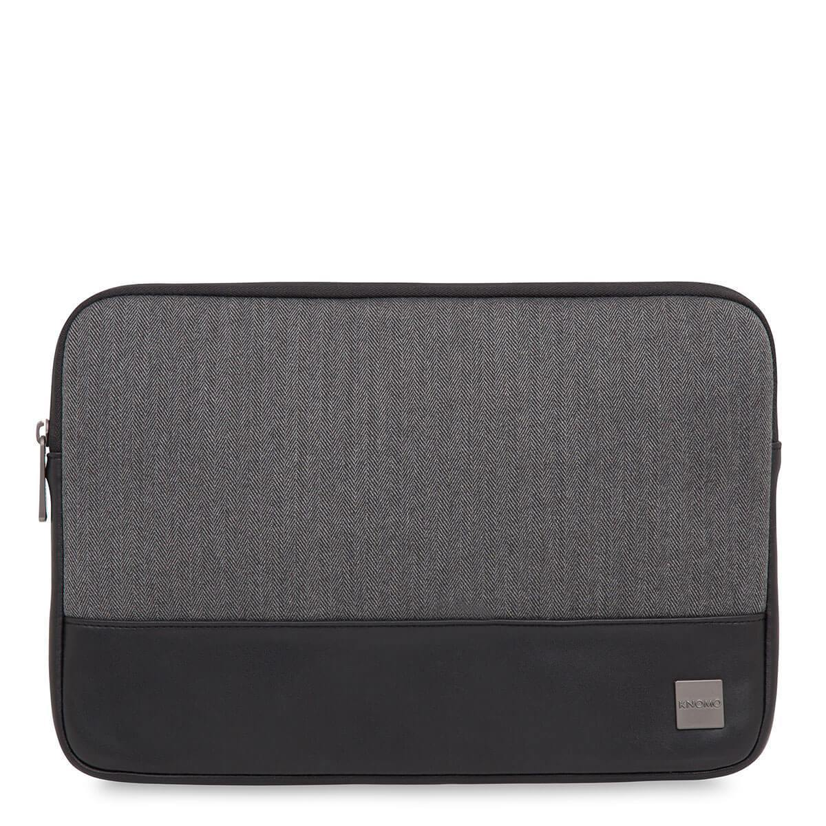 "KNOMO Herringbone Laptop Sleeve Laptop Sleeve From Front 13"" -  Grey 