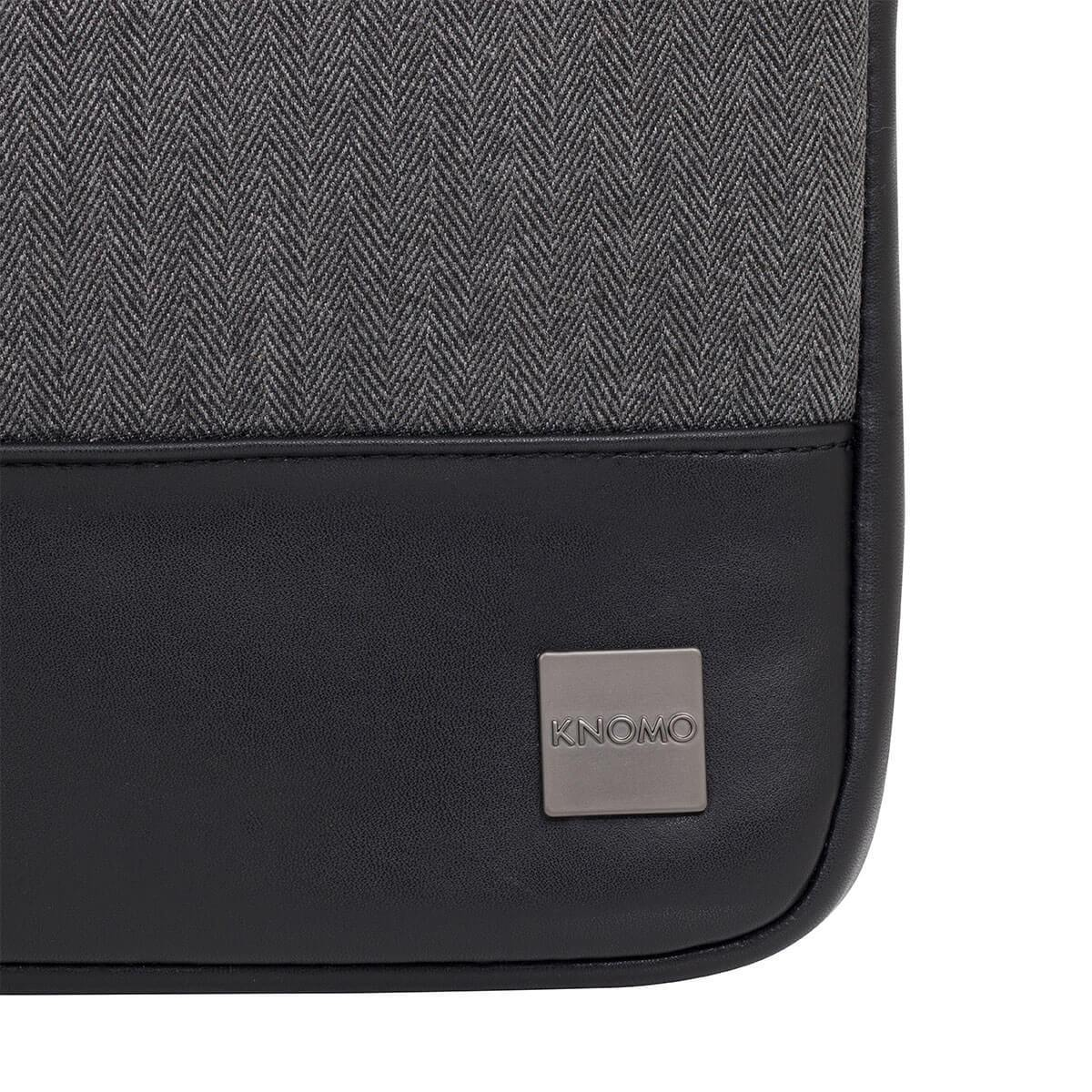 "KNOMO Herringbone Laptop Sleeve Laptop Sleeve Close Up Logo 13"" -  Grey 