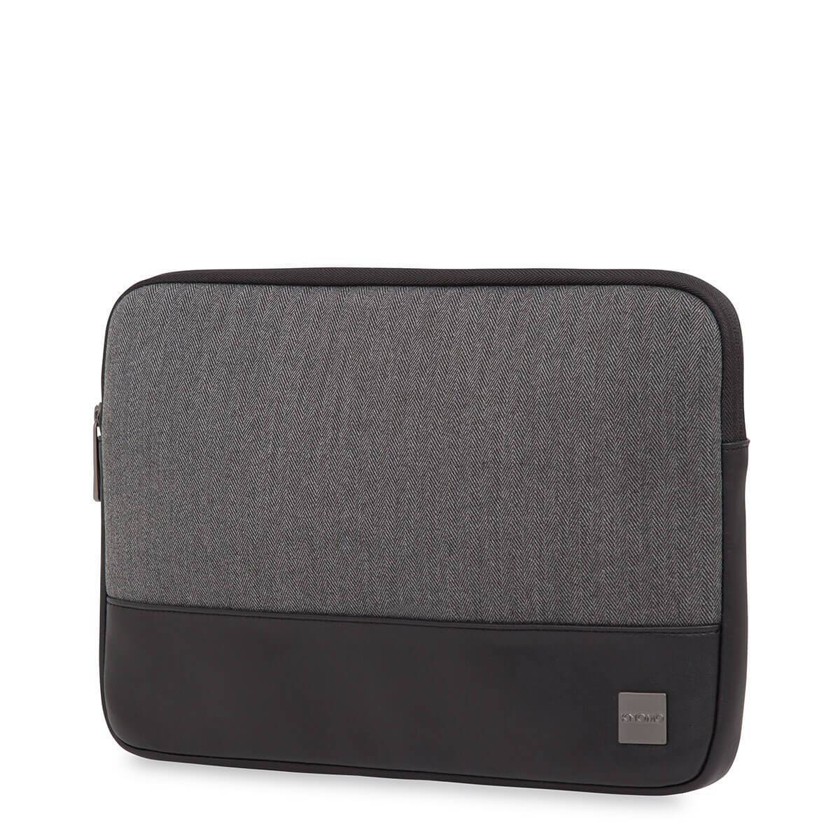 "KNOMO Herringbone Laptop Sleeve Laptop Sleeve Three Quarter View 13"" -  Grey 