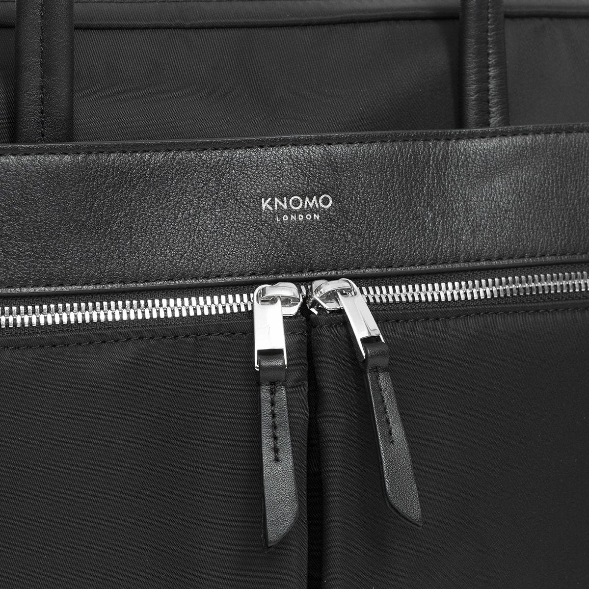 "KNOMO Hanover Laptop Briefcase Zip Detail Close Up 14"" -  Black 
