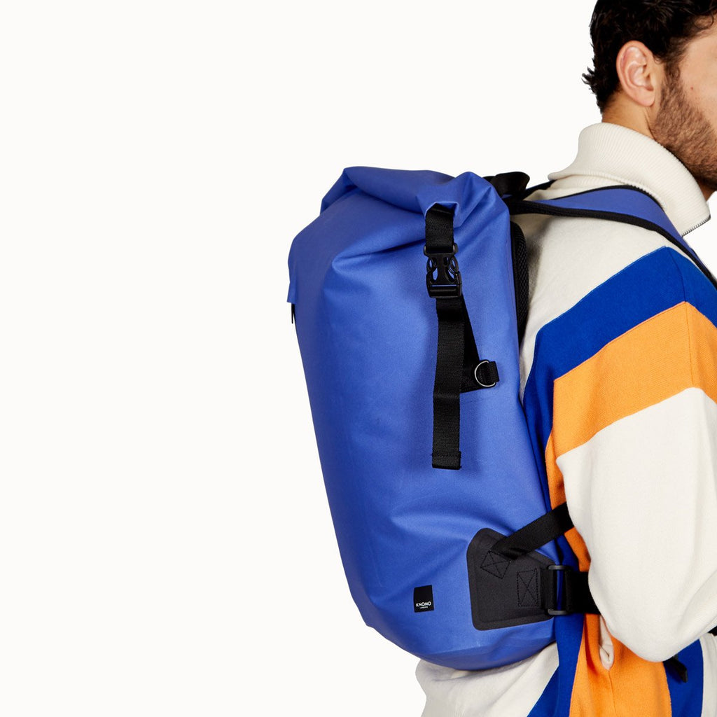 "Water Resistant Roll Top Laptop Backpack 14"" - Azure Blue 