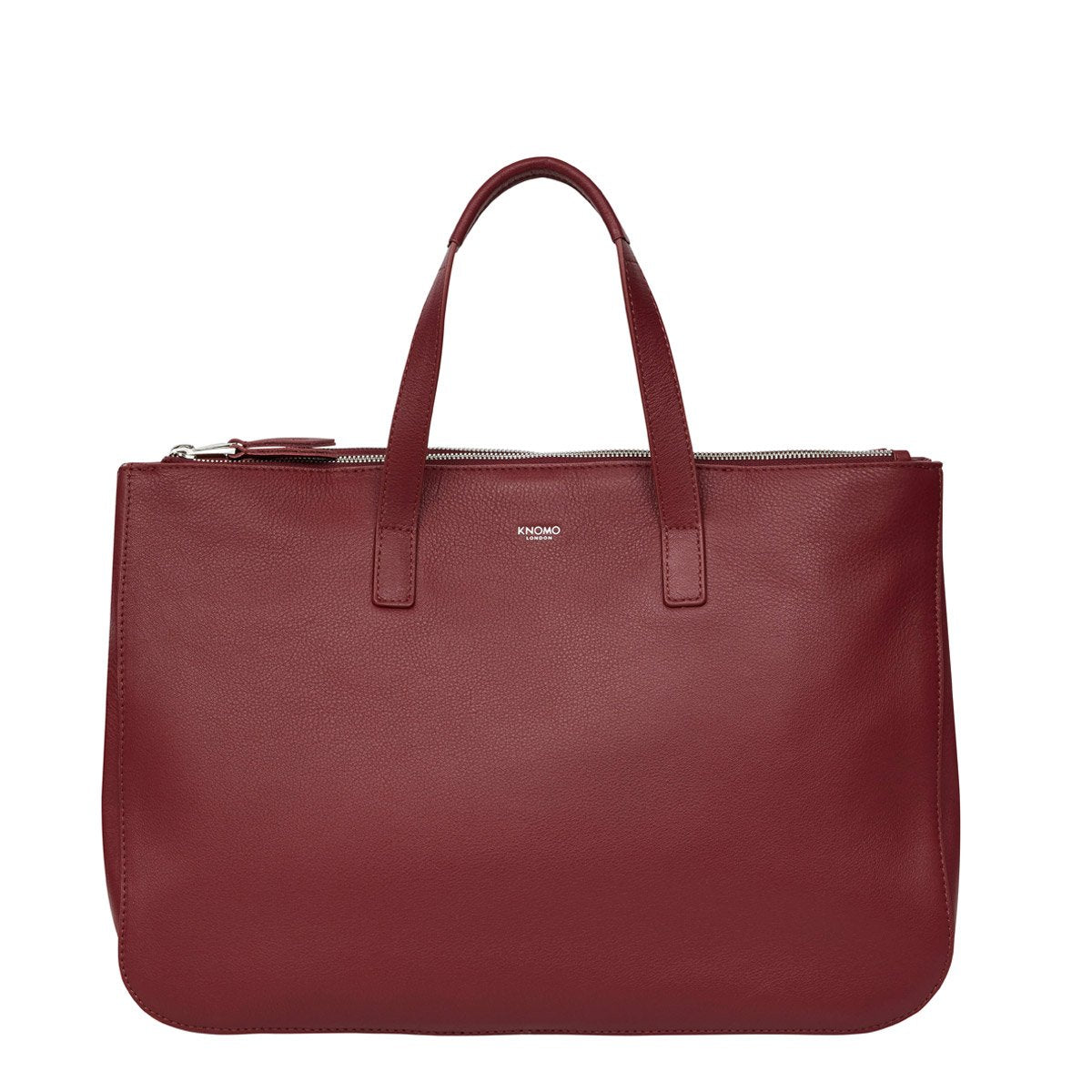 Mayfair luxe derby leather tote 14  120 206 bur front