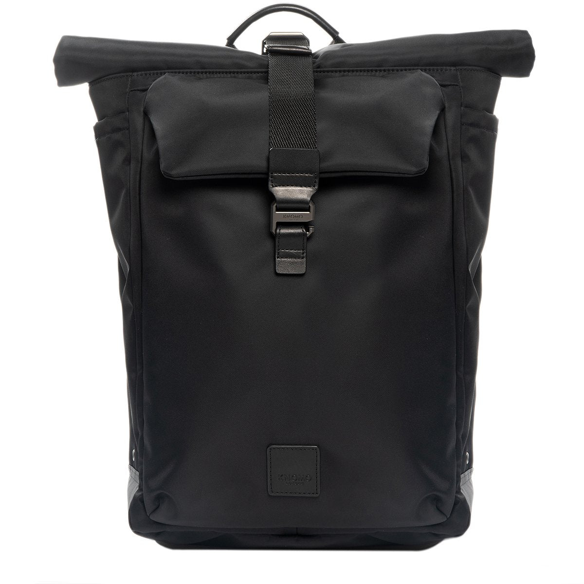 "KNOMO Novello Roll-Top Laptop Backpack From Front 15"" -  Black 