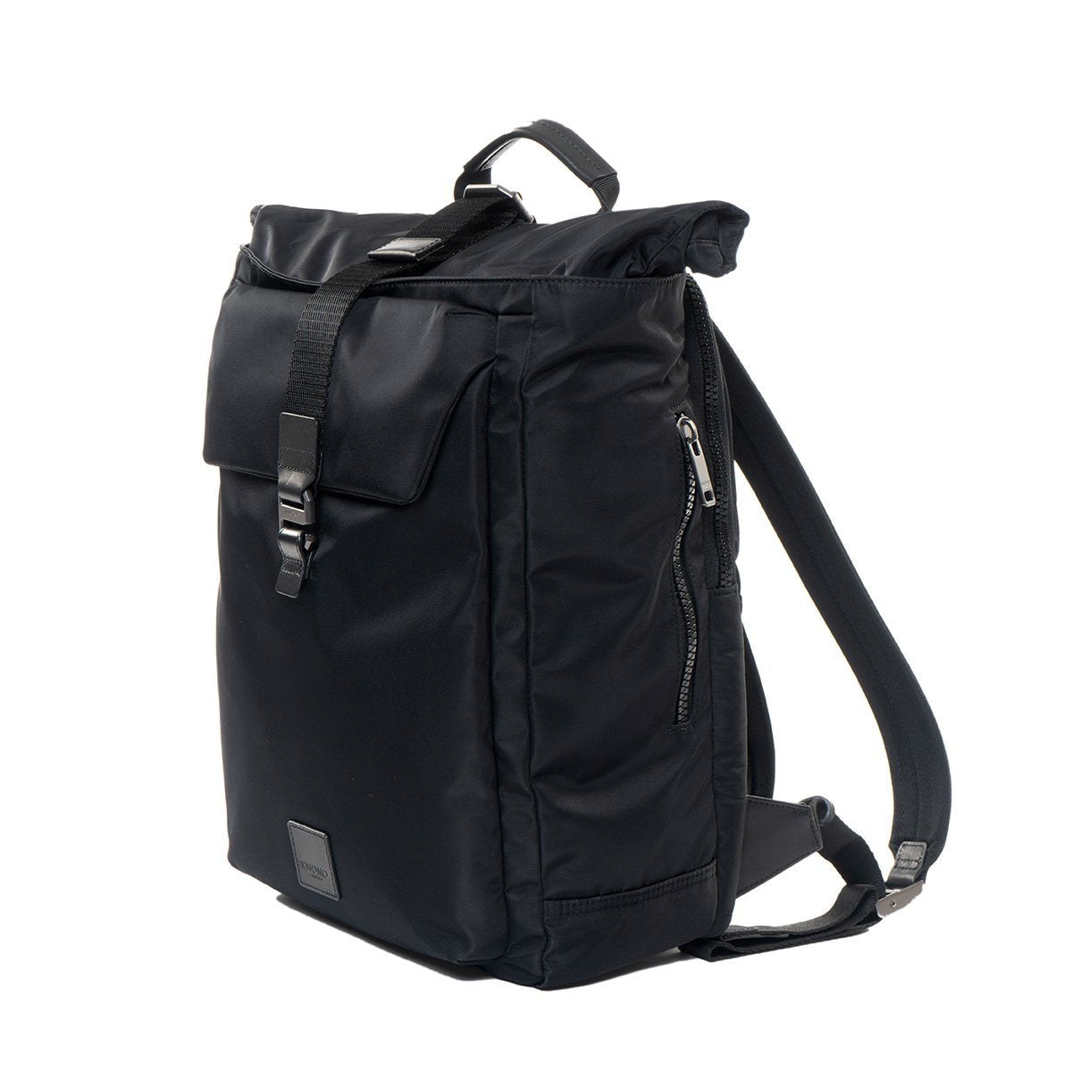 "KNOMO Novello Roll-Top Laptop Backpack From Side 15"" -  Black 