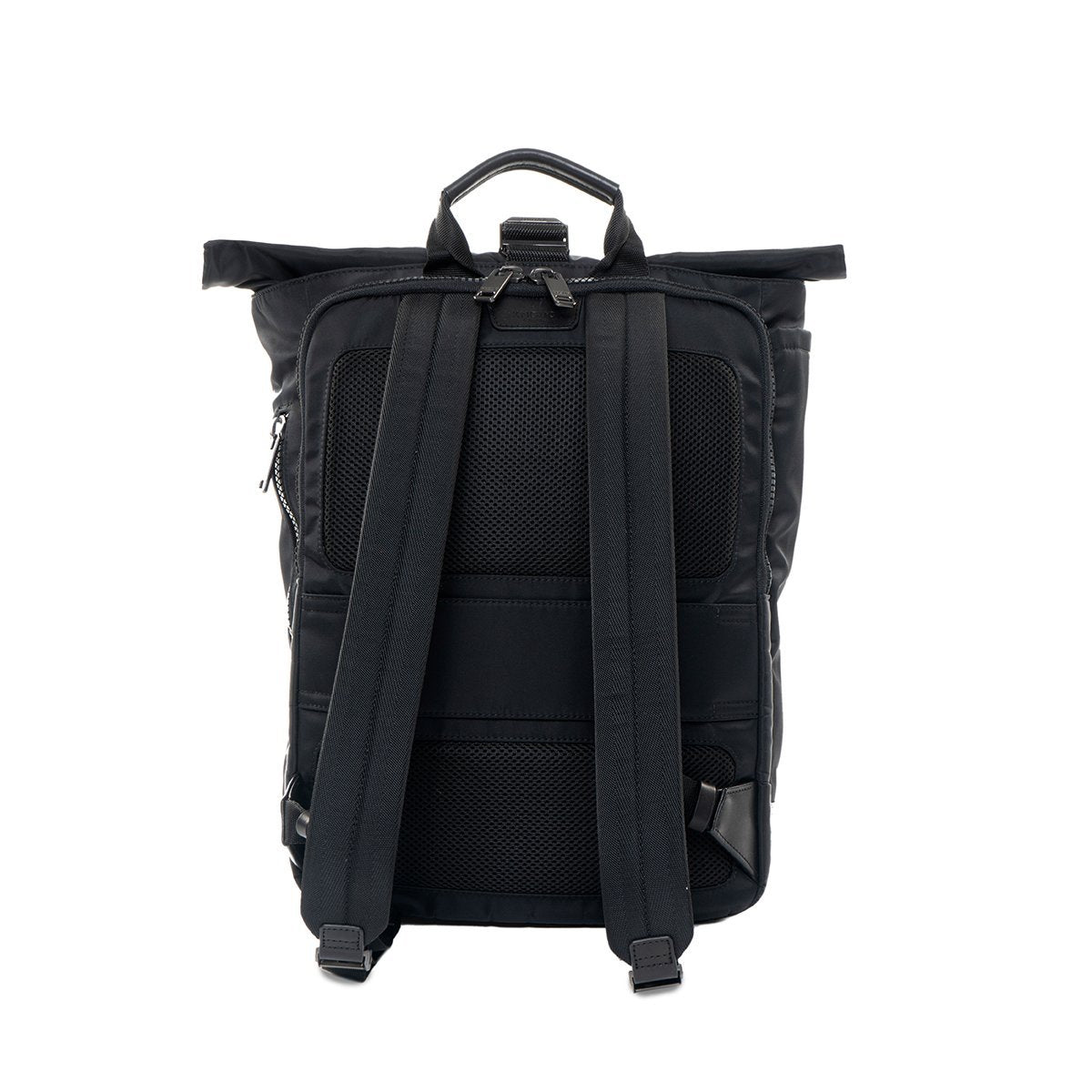 "KNOMO Novello Roll-Top Laptop Backpack From Back 15"" -  Black 